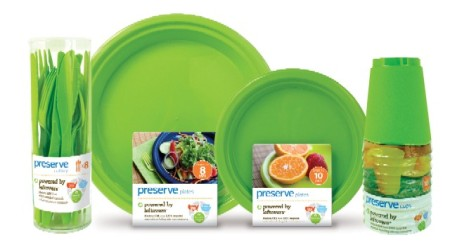 Picture of recycled plastic dinnerware in apple green.