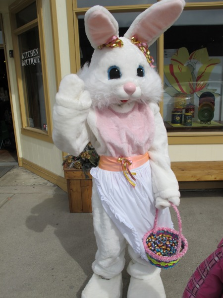 Easter Bunny in front of shop