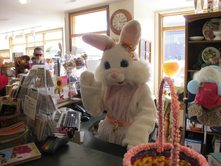 Easter Bunny at front desk